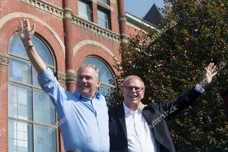 Tim Kaine, Ted Strickland Democratic vice presidential candidate, Sen. Tim Kaine, D-Va., left, and Ohio Democratic Senate candidate, former Ohio Gov. Ted Strickland, wave to the crowd during a campaign rally, in Springfield, Ohio