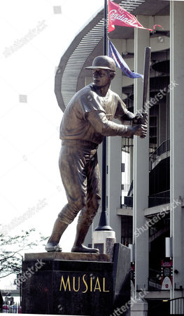 """The statue of former St. Louis Cardinal and Baseball Hall of Famer Stan Musial stands near the entrance of Busch Stadium in St. Louis on . Musial, known as """"The Man,"""" played 22 seasons with the Cardinals"""