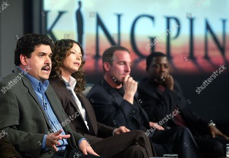 ROUNDTREE Two-time Emmy Award-winning executive producer/writer David Mills, left, comments on his new series Kingpin, at the 2003 NBC Winter Press Tour in Los Angeles. Other participants are Angela Alvarado Rosa, Brian Benben, middle, and far right, Shay Roundtree