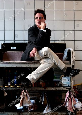 """Nicky Silver Playwright Nicky Silver sits on a shoe shine stand in a Times Square subway station in New York. """"The Lyons,"""" Silver's latest work, starring actress Linda Lavin, opens on Broadway at the Cort Theater in New York following an off-Broadway run in 2011"""