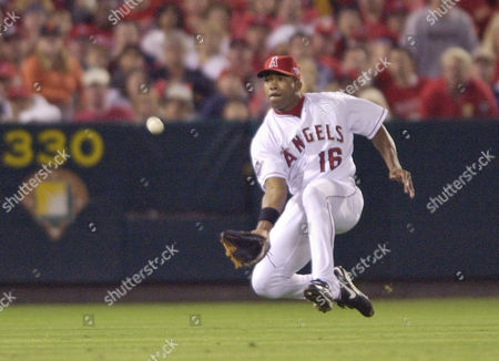 Stock Photo of ANDERSON Anaheim Angels left fielder Garret Anderson reaches for a shoestring catch of a fly ball hit by the San Francisco Giants' Kenny Lofton in the 7th inning of Game 1 of the World Series in Anaheim, Calif
