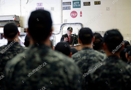 Navy Secretary Ray Mabus speaks during a visit to Naval Base San Diego, aboard the USS America, in San Diego. Mabus met with sailors aboard the America, after meeting with shipbuilders earlier Wednesday