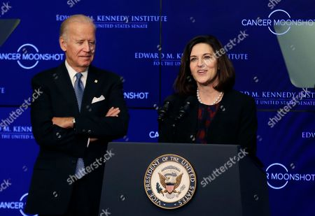 """Vicki Kennedy, Joe Biden Vicki Kennedy, widow of Sen. Edward Kennedy, introduces Vice President Joe Biden to speak at the Edward M. Kennedy Institute for the United States Senate, in Boston, about the White House's cancer """"moonshot"""" initiative ? a push to throw everything at finding a cure within five years"""