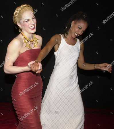 """FINLEY SIMONE Felicia Finley, left, and Simone, stars of """"Elton John & Tim Rice's AIDA,"""" celebrate the musical's second anniversary on Broadway, in New York"""