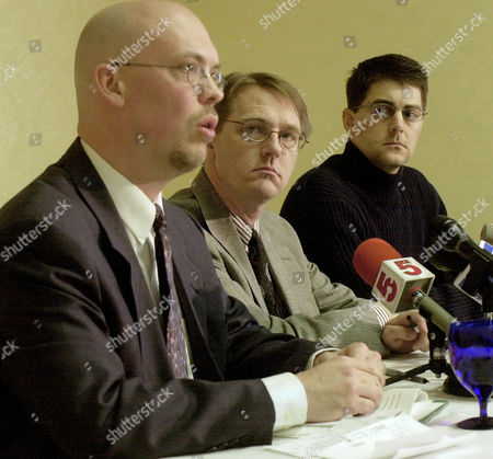 Stock Photo of NOAKER PONA CLOHESSY Attorney Patrick Noaker, left, faces reporters in St. Louis, along with David Clohessy, center, and Steve Pona, about a lawsuit filed in Hannibal, Mo. against three dioceses and an ex-bishop on behalf of a man who says he was abused by former Bishop Anthony O' Connell. The lawsuit alleges a conspiracy by Roman Catholics to keep sexual abuse claims secret. Clohessy is the director of Survivors Network of those Abused by Priests and Pona is a member of the organization