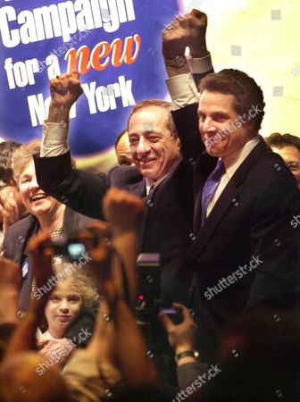 CUOMO New York State candidate for governor, Andrew Cuomo, right, is joined on stage by his father, Mario Cuomo, center, at a rally in New York, . Cuomo has decided to bypass the state party convention and instead ask rank-and-file Democrats to put him into a Sept. 10 primary against state Comptroller H. Carl McCall