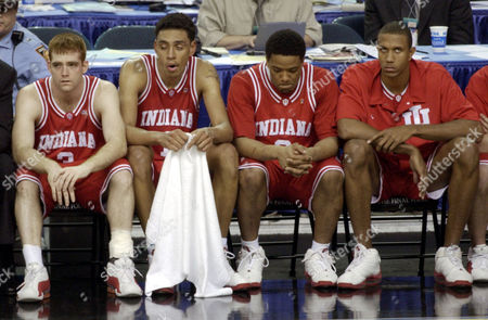 LEACH Indiana guard Tom Coverdale, left to right, Jared Jeffries, A.J. Moye, and George Leach react on the bench as Indiana is defeated by Maryland 64-52 in the NCAA championship game in the Georgia Dome in Atlanta