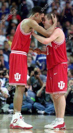 Stock Picture of JEFFRIES FIFE Indiana teammates Jared Jeffries, left, and Dane Fife, right, celebrate their 73-64 win over Oklahoma in the semifinals of the Final Four in the Georgia Dome in Atlanta