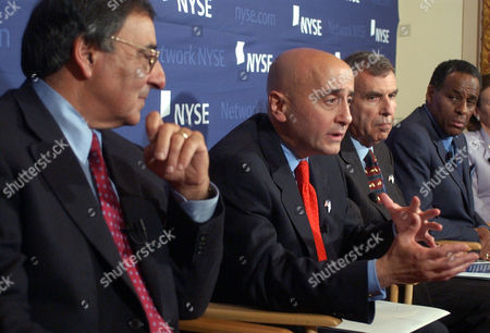 MCCALL New York Stock Exchange Chairman Richard Grasso, second left, addresses a news conference at the exchange, . Grasso is joined by co-chairmen of the NYSE Corporate Accountability and Listings Standards Committee: Leon Panetta, left, Gerald Levin, third left and New York State Comptroller H. Carl McCall