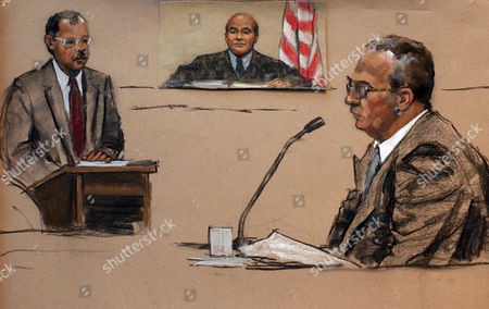 """Stock Image of DURHAM TAURO MARTORANO Assistant U.S. Attorney John Durham, left, is seen, in this artist's drawing, during questioning of convicted mob hitman John Martorano, right, during testimony in U.S. Federal Court in Boston, in the trial of retired FBI agent John J. Connolly Jr. Connolly is accused of misconduct in his handling of criminal informants James """"Whitey"""" Bulger and Steven """"The Rifleman"""" Flemmi. U.S. District Court Judge Joseph Tauro is seen center-background"""