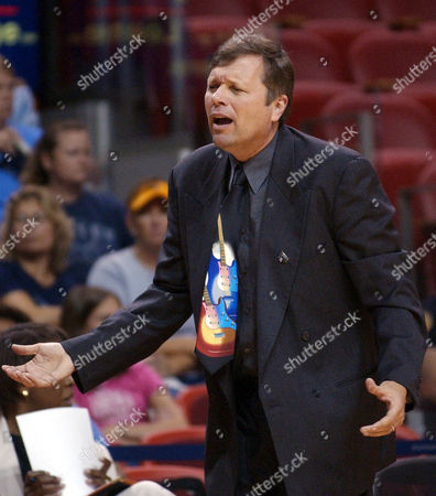 HUGHES Cleveland Rockers head coach Dan Hughes protests a call by a referee in the game against the Miami Sol during the first half, in Miami