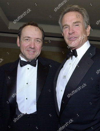 SPACEY BEATTY Kevin Spacey, left, and Warren Beatty smile during a party before the San Francisco Film Society awards night in San Francisco, . Spacey was to receive the Peter J. Owens Award; Beatty was to receive the Akira Kurosawa Award for lifetime achievement in film directing