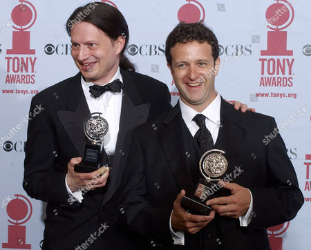 """HOLLMANN KOTIS Mark Hollmann, left, and Greg Kotis accept the Tony for Best Original Score, while Kotis won for Best Book of A Musical, for """"Urinetown, the Musical,"""" during the 56th annual Tony Awards, at New York's Radio City Music Hall"""