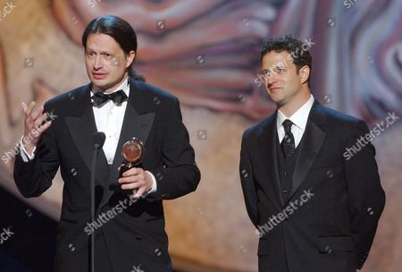 """HOLLMANN KOTIS Mark Hollmann, left, and Greg Kotis accept the Tony for best original score for """"Urinetown, the Musical,"""" during the 56th annual Tony Awards, at New York's Radio City Music Hall"""