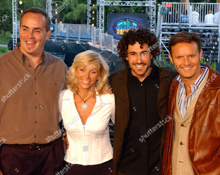 """BURNETT 1:30 A.M. EDT, ** Past """"Survivor"""" winners, from left, Richard Hatch, Tina Wesson, and Ethan Zohn arrive with """"Survivor"""" creator Mark Burnett, right, at New York's Central Park for the finale of CBS' """"Survivor: Marquesas"""" reality television show Sunday, May 19, 2002"""