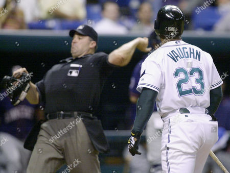 VAUGHN WELKE Homeplate umpire Bill Welke ejects Tampa Bay Devil Rays' Greg Vaughn (23) from the game for arguing a called third strike to end the seventh inning against the Minnesota Twins, in St. Petersburg, Fla