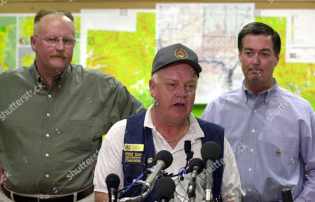 HART ALLBAUGH OWENS Steve Hart, center, Incident Commander of the Coal Seam wildfire, responds to questions during a news conference about the fire in Glenwood Springs, Colo., . Major General Joe Allbaugh, left, the National Director of the Federal Emergency Management Agency, and Colorado Gov. Bill Owens, right, look on