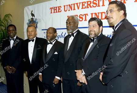 Six Caribbean Prime Ministers are shown during a photo session at the Marriott Marquis Hotel in New York, . The Caribbean-based University of the West Indies honored the Prime Ministers during its gala at the hotel. From right to left are Kenny Anthony, St. Lucia; Ralph Gonsalves, St. Vincent and the Grenadines; P.J. Patterson, Jamaica; Denzil Douglas, St. Kitts and Nevis; Owen Arthur, Barbados; and Keith Mitchell, Grenada