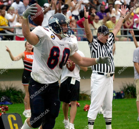 HAYES Team Florida's Chad Hayes (80) of Maine reacts after scoring his third touchdown of the day against Team USA in the Gridiron Classic in Orlando, Fla., . Hayes was named offensive most valuable player of the game which Team Florida won 42-13
