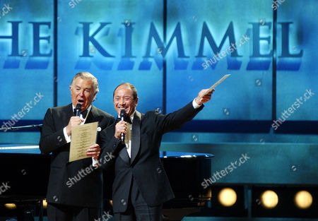 ANKA KIMMEL Sidney Kimmel, left, is joined onstage with special guest, singer Paul Anka during the Gala Preview Concert at the Kimmel Center, in Philadelphia. The $265 million glass-and-brick Kimmel Center for the Performing Arts opened Friday night with a $5,000-per-ticket show headlined by Elton John