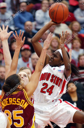 ALLEN ANDERSSON Ohio State's Ashley Allen (24) shoots over Minnesota's Kadidja Andersson (35) in the second half, in Columbus, Ohio
