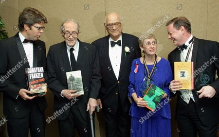 MILLER,DUGAN The 2001 National Book Awards recipients pose for pictures after the ceremony in New York, . Left to right are Jonathan Franzen, winner of the Fiction award, Alan Dugan for Poetry, Arthur Miller, awarded for Distinguished Contribution to American Letters, Virginia Euwer Wolff for Young People's Literature and Andrew Solomon, winner of the Nonfiction award