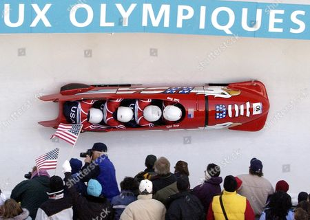 HINES The United States bobsled USA-1 piloted by Todd Hays, right, with teammates Randy Jones, Bill Schuffenhauer and brakeman Garrett Hines during the men's four-man bobsled final at the Salt Lake City Winter Olympics in Park City, Utah, . United States 1 placed second