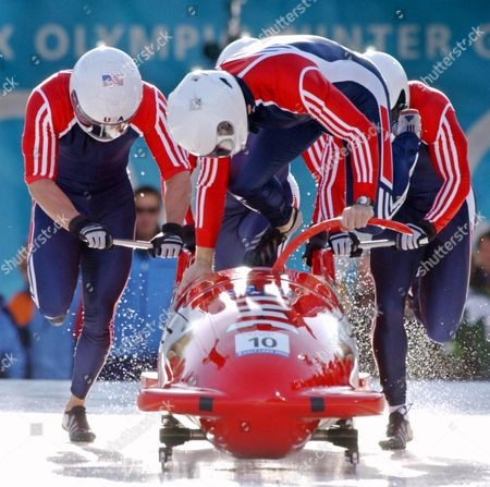 HINES The United States bobsled USA-1 piloted by Todd Hays, jumping in, with teammates Randy Jones, Bill Schuffenhauer and brakeman Garrett Hines push off during the men's four-man bobsled final at the Salt Lake City Winter Olympics in Park City, Utah