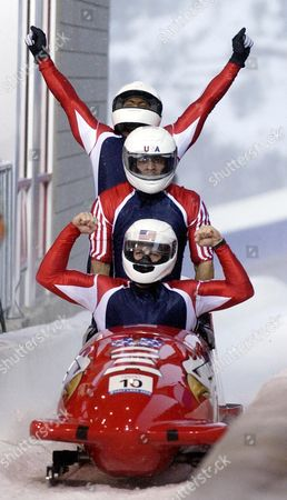 HINES The United States bobsled USA-1 piloted by Todd Hays, front, with teammates Randy Jones, Bill Schuffenhauer and brakeman Garrett Hines react in the finish area during the men's four-man bobsled final at the Salt Lake City Winter Olympics in Park City, Utah, . USA-1 won a silver medal