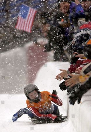 GALE Tristan Gale of the United States celebrates her final and gold medal winning run in the women's skeleton final at the 2002 Salt Lake City Winter Olympics in Park City, Utah
