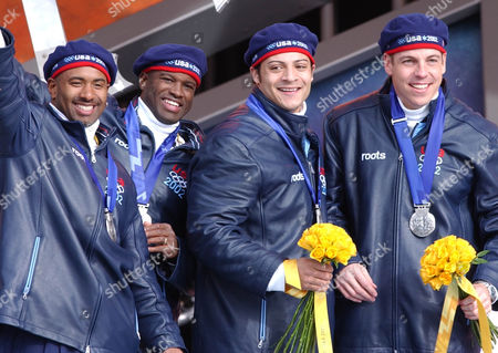 HAYS American bobsledders wear silver medals at the Salt Lake City Winter Olympics awards ceremony in downtown Salt Lake City, . From left: Randy Jones, Garrett Hines, Bill Schuffenhauer and Todd Hays