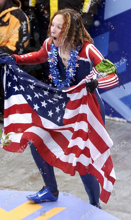 GALE Tristan Gale of the United States reacts to the crowd after she won the gold during the women's skeleton final at the 2002 Salt Lake City Winter Olympics in Park City, Utah