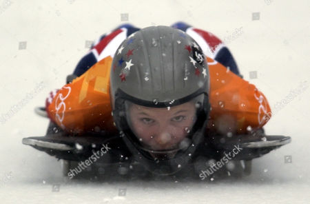GALE Tristan Gale of the United States starts her run during the women's skeleton final at the 2002 Salt Lake City Winter Olympics in Park City, Utah