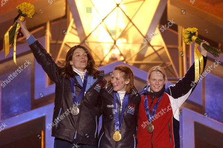 PARSLEY GALE COOMBER Medalists in the women's skeleton Olympic competition acknowledge the crowd during the medals event in Salt Lake City, . From left, USA's Lea Ann Parsley, silver; Tristan Gale, gold; and Great Britain's Alex Coomber, bronze