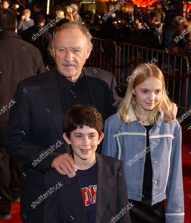 """HACKMAN GOROVAIA MEYERSON The Royal Tenenbaums,"""" cast members Gene Hackman, top left, Irene Gorovaia, right, and Jonah Meyerson pose together at the premiere of the film in the Hollywood section of Los Angeles"""