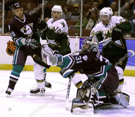 SHIELDS Anaheim Mighty Ducks goalie Steve Shields (31) misses the puck as teammate Niclas Havelid (28), of Sweden, Dallas Stars' Brenden Morrow (10) and Donald Audette, right, look on in the first period, in Anaheim, Calif