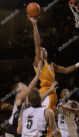 THORNTON Tennessee's Vincent Yarbrough puts up the winnning basket with four seconds remaining in the game to give Tennessee a 67-65 win over Vanderbilt, in Nashville, Tenn. Defending for Vanderbilt are Sam Howard, left, Brendan Plavich (5) and Brian Thornton (2