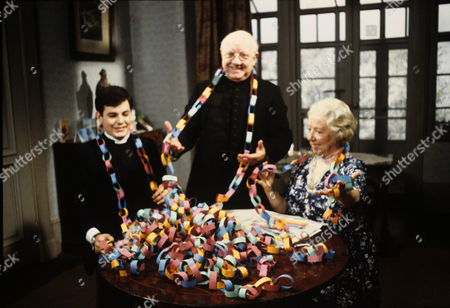 Daniel Albineri , Arthur Lowe and Gabrille Daye in 'Bless Me Father' - 1979