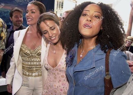"""CHRISTIAN OBRADORS SUMMER Actors Claudia Christian, Jacqueline Obradors and Cree Summer, from left, get together before a screening of the animated film """"Atlantis: The Lost Empire"""", in the Hollywood area of Los Angeles"""