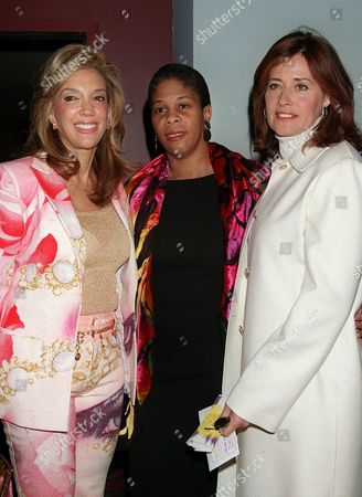 """RICH FULANI BRACCO Songwriter Denise Rich, left, Dr. Lenora Fulani, center, founder of the """"All Stars Project,"""" and Lorraine Bracco, of the HBO series """"The Sopranos,"""" arrive for the premiere and benefit performance of """"John and Paul,"""" a musical about the Beatles, at the New Victory Theatre in New York. The All Stars Project is an anti-violence program that uses theatre and performance to support the development of inner-city youth"""