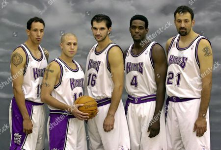 DIVAC Newly aquired guard Mike Bibby, second from left, poses with the rest of the projected starters of the Sacramento Kings, guard Doug Christie, left, forwards Predrag Stojakovic, third from left, Chris Webber, second from right, and center Vlade Divac, right, during the team's media day held in Sacramento, Calif., . Bibby has been asked to bring stability and proficiency to the Kings by replacing Williams, whose three turbulent seasons endedin June when the point guards were swapped for each other
