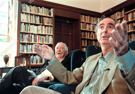 ROTH STYRON Author Philip Roth, right, responds to a question as fellow author William Styron, left, listens during a news conference on the MacDowell Colony grounds in Peterborough, N.H., . Roth received the Edward MacDowell Medal from the artist colony for his contribution to the arts