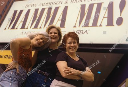 "PITRE MASON KAYE The stars of the new Broadway musical ""Mamma Mia!,"" from left, Louise Pitre, Karen Mason and Judy Kaye, pose in front of the Winter Garden Theatre in New York . The show, which uses music by the Swedish pop group Abba, opens Oct. 18"