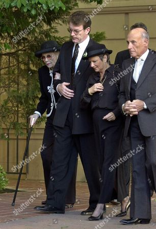KELLER WYMAN REVELL Jane Wyman, left, Dennis Revell, 2nd from left, Edie and Bob Keller, right, arrive for memorial services for Maureen Reagan, at the Cathedral of the Blessed Sacrament, in Sacramento Calif