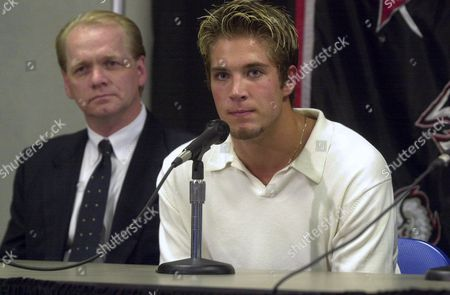 PYATT, REGIER Newly-acquired Buffalo Sabres' Taylor Pyatt, right, and Sabres general manager Darcy Regier attend a news conference at the HSBC Arena, in Buffalo, N.Y. Pyatt and Tim Connolly were traded by the New York Islanders Sunday, June 24th for former Sabres captain Michael Peca