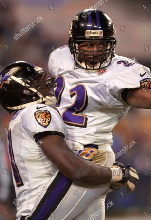MCALISTER STARKS Baltimore Ravens Chris McAlister, left, and Duane Starks (22) celebrate Starks' interception return for a touchdown against the New York Giants during the third quarter in Super Bowl XXXV, in Tampa, Fla