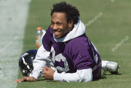 STARKS Baltimore Ravens cornerback Duane Starks laughs during warmups at the team's Super Bowl XXXV practice session in Tampa, Fla