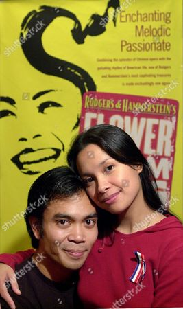 """LLANA SALONGA Jose Llana, left, and Lea Salonga star in the revival of Rodgers and Hammerstein's """"Flower Drum Song"""" at the Mark Taper Forum in Los Angeles. They posed together during a rehearsal break at the theater"""