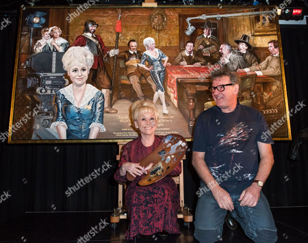 """Stock Image of Dame Barbara Windsor OBE, Nick Hugh McCann, with his latest painting """"And When Did You Last See Your Feet??"""""""