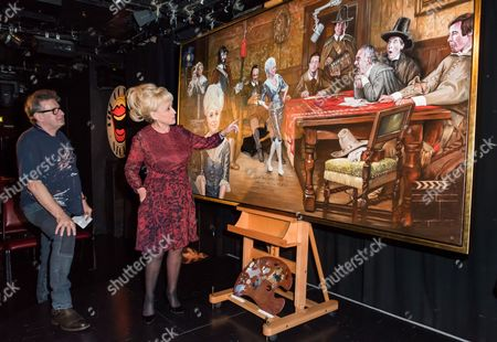 """Stock Picture of Nick Hugh McCann, Dame Barbara Windsor OBE with his latest painting """"And When Did You Last See Your Feet??"""""""